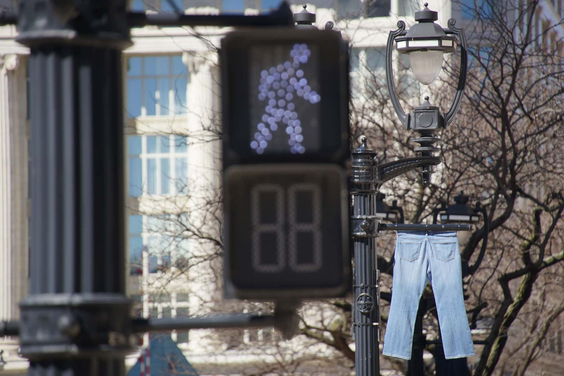 photo essay awareness campaign lines downtown jeans the a display of jeans hang from light posts along a major downtown artery to raise awareness for preventing sexual assault and to focus support on denim day