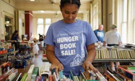 Paper books still exist and their sales are helping feed the hungry