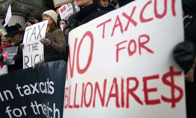 Citizens pressure Senator Ron Johnson to stop tax breaks for Billionaires