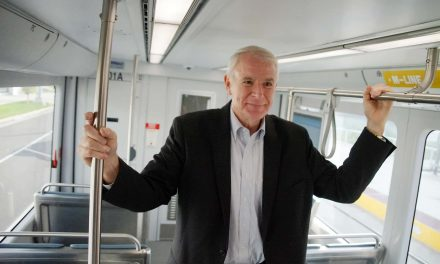 Mayor Tom Barrett previews the M-Line Streetcar route with first passenger ride
