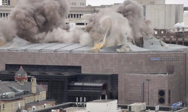 Video: Controlled roof demolition leaves Bradley Center topless