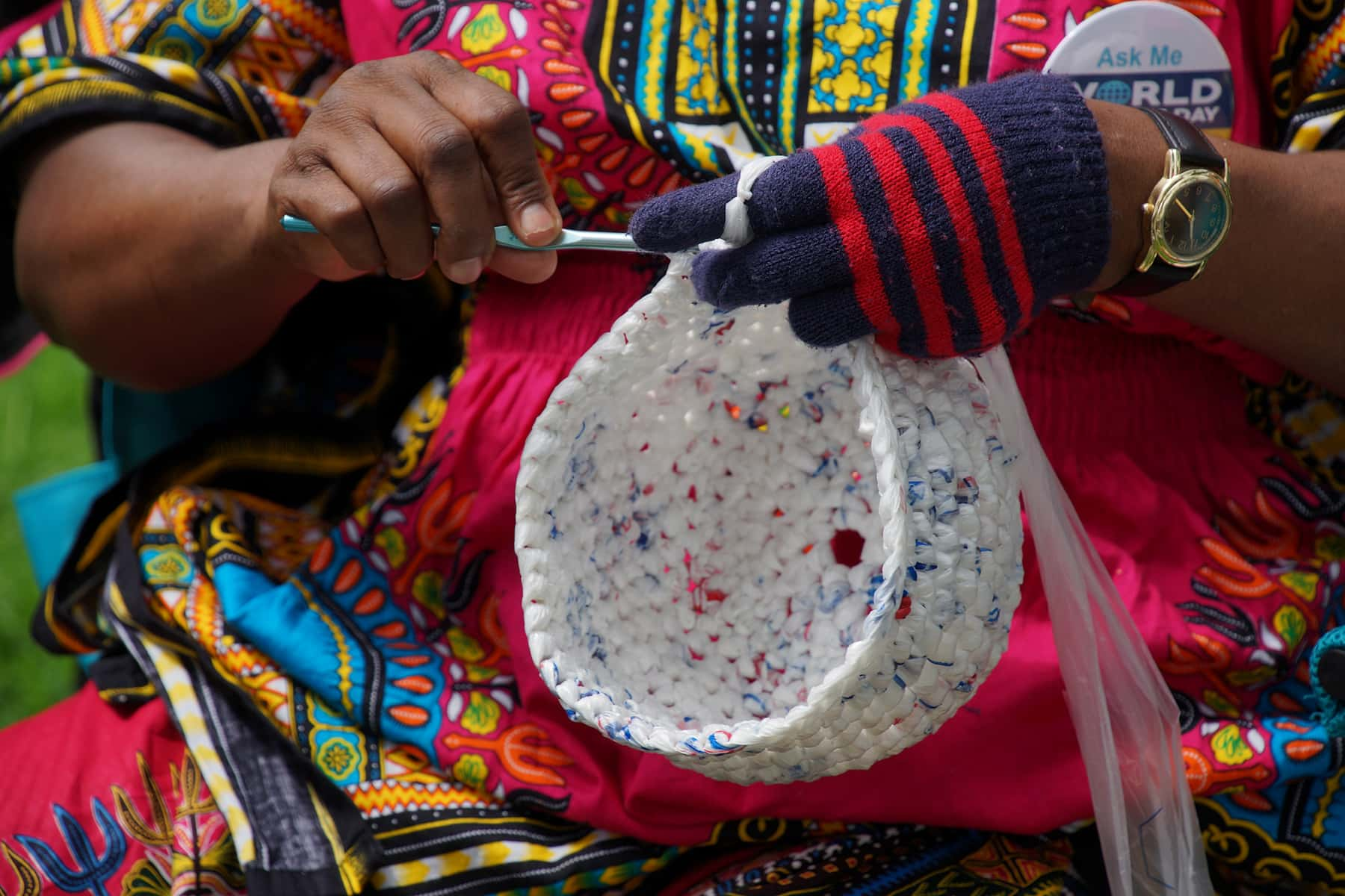 Local Refugee Women Crochet Plastic Bags Into Craft Items And Earn