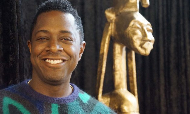"""""""Seated Warrior"""" sculpture by artist Sanford Biggers makes new home at America's Black Holocaust Museum"""