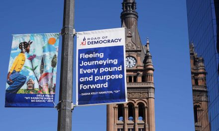 "Inspirational banners feature work by Milwaukee artists to celebrate our nation's ""Road of Democracy"""