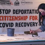 """Art build in Milwaukee creates banners for nationwide """"torch relay"""" march in support of immigrant rights"""