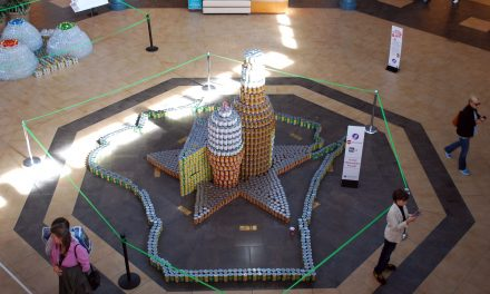 Sculptures built from canned food to benefit local hunger relief
