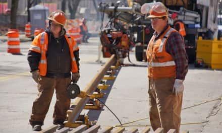 Photo Essay: Streetcar leaves footprint as rail welding begins