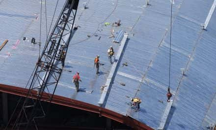 Bucks celebrate construction milestone with arena roof topping off