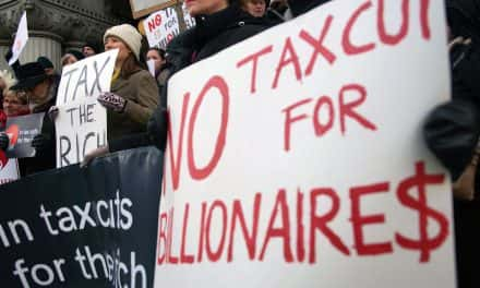 Citizens pressure Senator Ron Johnson to stop tax breaks for Billionaires