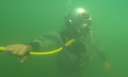 Classic Mark V deep sea suits allow diving enthusiasts to submerge back in time