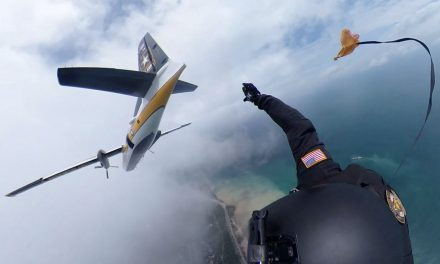 Exclusive: 360° view of skydive at 2,000 feet over Milwaukee with precision landing