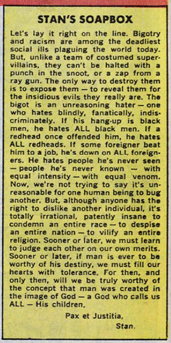 Stan Lee: The Titan of Marvel Comics and his 1968 column on Racism | The  Milwaukee Independent
