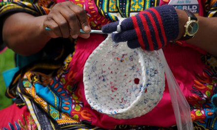 Local refugee women crochet plastic bags into craft items and earn income while saving environment