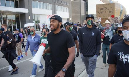 Sterling Brown and Milwaukee Bucks lead thousands in peaceful protest march from Fiserv to Lakefront