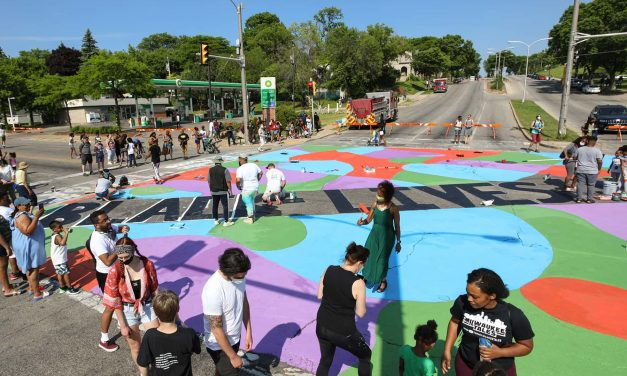 Black Lives Matter street mural suffers rain damage following installation at Harambee intersection