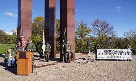 Ceremony honoring 30th anniversary commemoration of Vietnam Memorial held at Milwaukee's Veterans Park